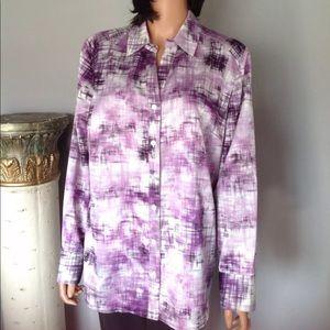 Chico's Women Button Down Shirt Designer Purple